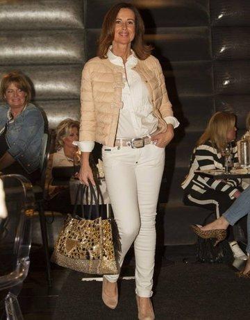Broekriem nude Milan Pearl Triple cream gold