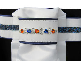 Plastron Crystal Fabric blue Onyx orange blue