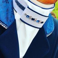 Plastron Crystal Fabric blue Onyx tricolore blue