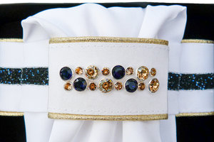 Plastron Crystal Fabric blue Odessa Double navy gold