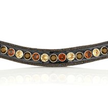 Browband Crystal Fabric tricolore brown