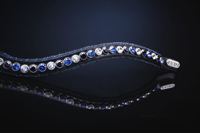 Browband Swarovski Crystal Fabric tricolore blue